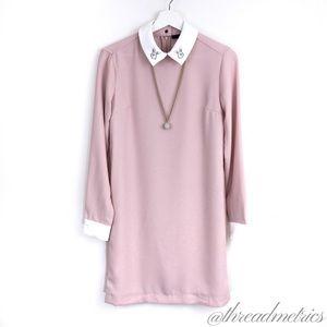 V I C T O R I A Beckham • Blush Collared Dress